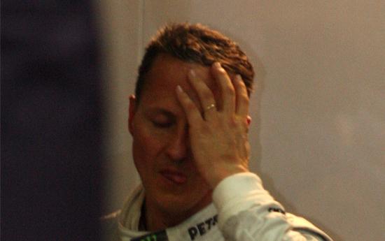 Schumacher nach dem Ausfall in Monaco