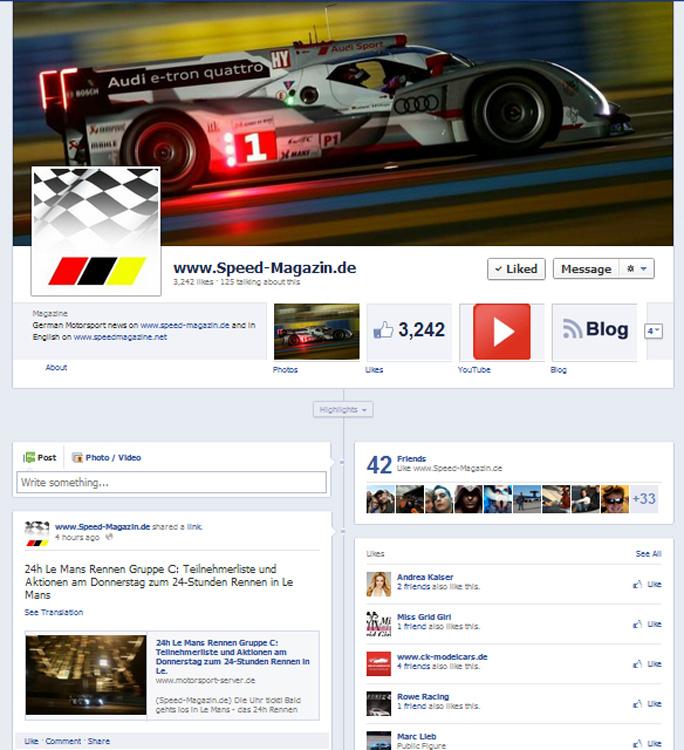 Screenshot Speed-Magazin Facebook