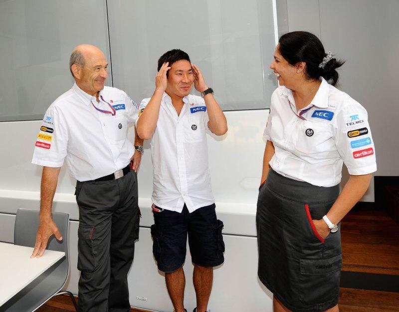 v.l.n.r: Peter Sauber, Kamui Kobayashi und Monisha Kaltenborn
