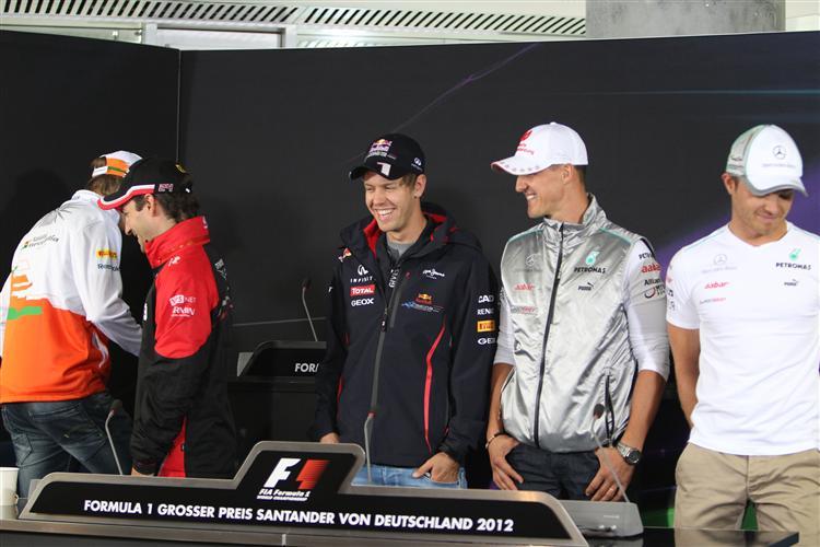 Sebastian Vettel bei der PK am Hockenheimring