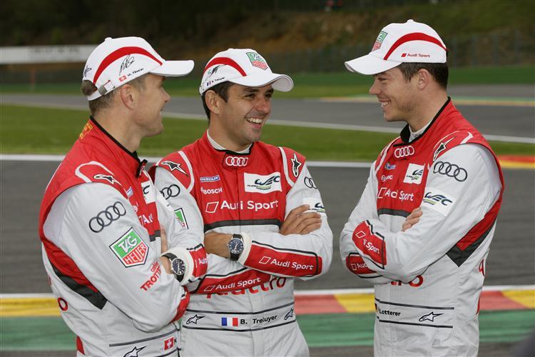Treluyer (Mitte) mit seinen Teamkollegen Fässler und Lotterer
