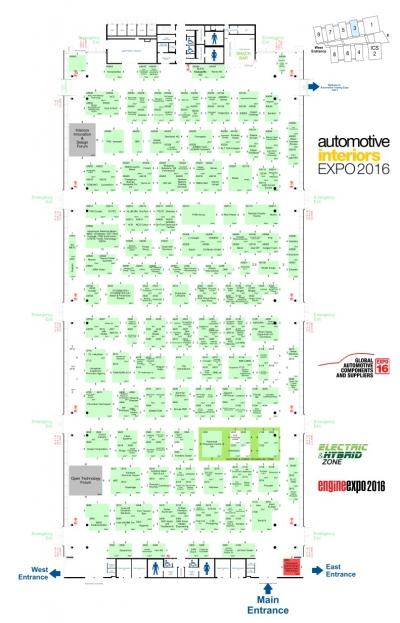 Stand-Plan der Expo16 Global Automotive Components und Suppliersmit Electric Hybrid Zone