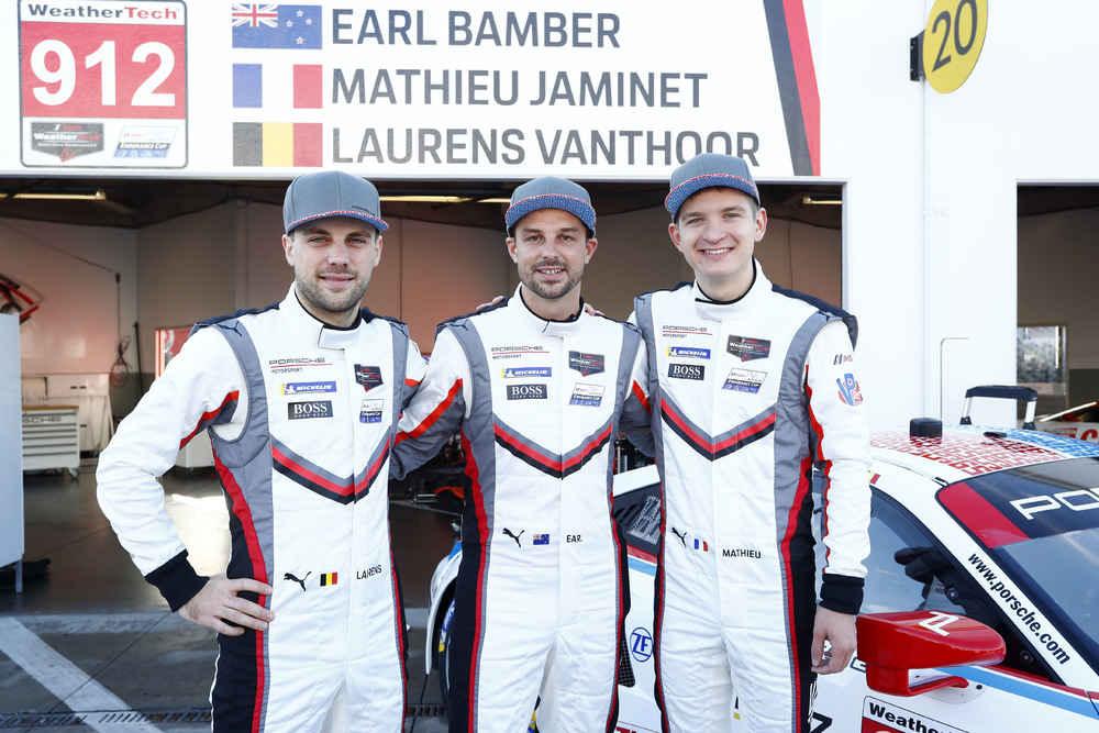 Porsche GT Team: Laurens Vanthoor, Earl Bamber, Mathieu Jaminet (l-r)