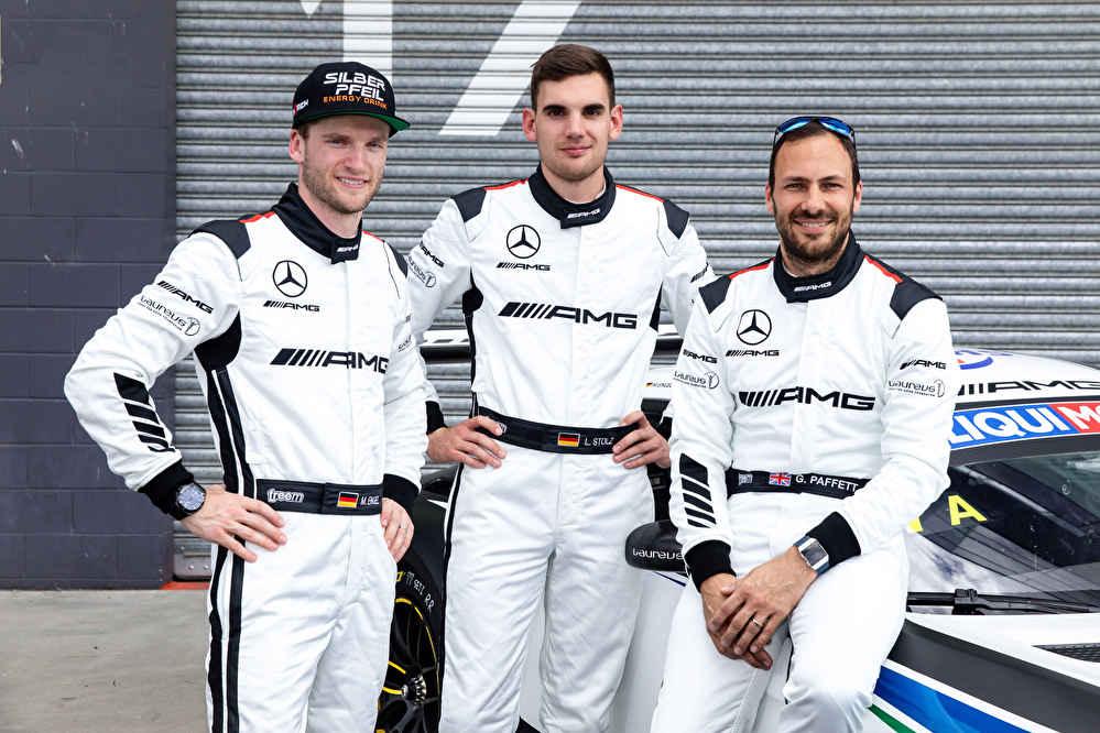 Mercedes-AMG Fahrer Maro Engel, Luca Stolz und Gary Paffett (v.l.)