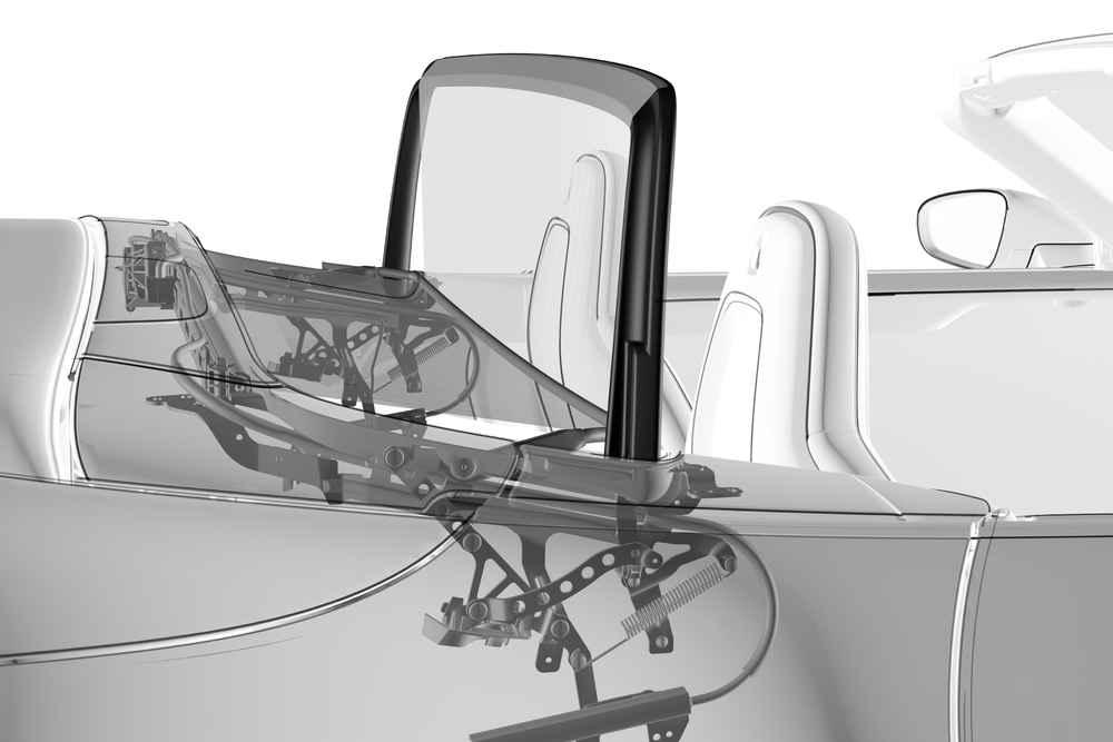 Elektrisch betätigtes Windschott am 911 Carrera Cabriolet