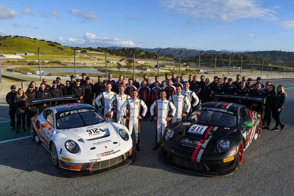 Porsche 911 GT3 R (912), Wright Motorsports; Porsche 911 GT3 R (911), Park Place Motorsports