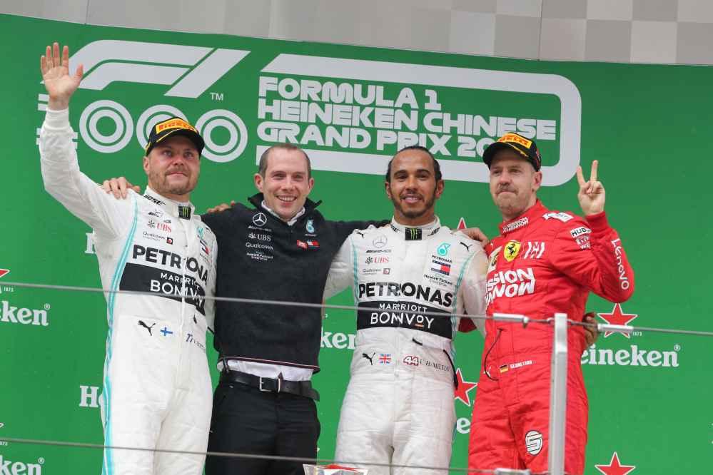 Das Podium in Shanghai: Hamilton, Bottas und Vettel
