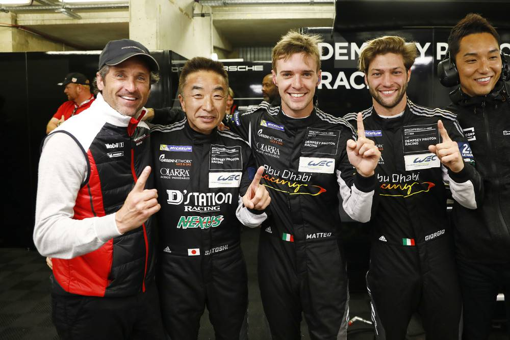 Patrick Dempsey, Satoshi Hoshino (JAP), Matteo Cairoli (I), Giorgio Roda (I) (l-r)