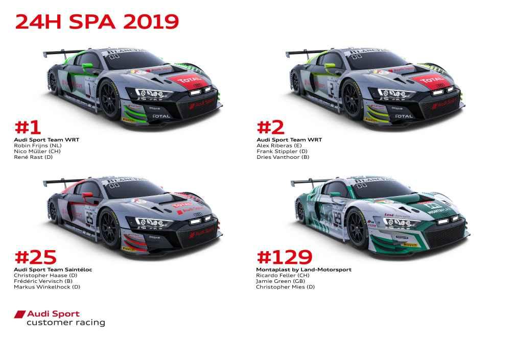 Audi Sport trifft auf zehn weitere Marken in einem Feld von 72 Teilnehmern