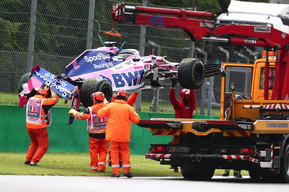 Perez kracht in die Mauer beim FP1 in Monza